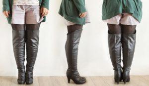 脚の太い女性のブーツ姿