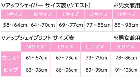 Vアップシェイパー サイズ表