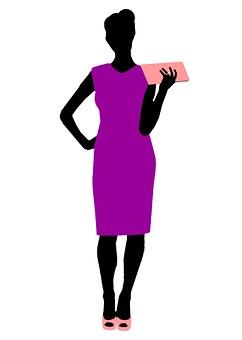 財布を持つ女性のイラスト