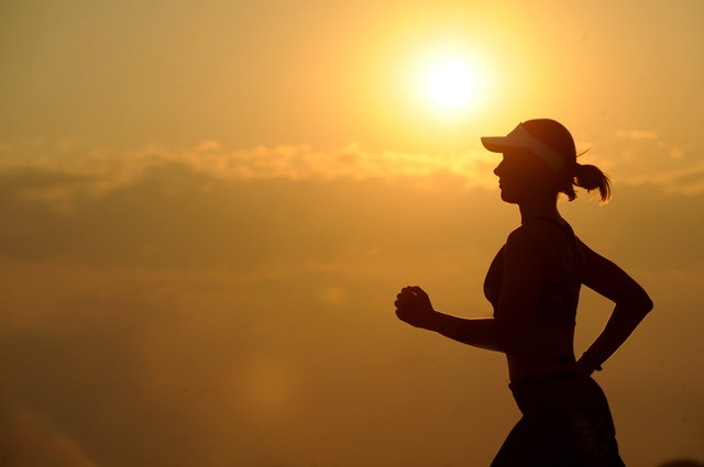 夕日 ジョギング