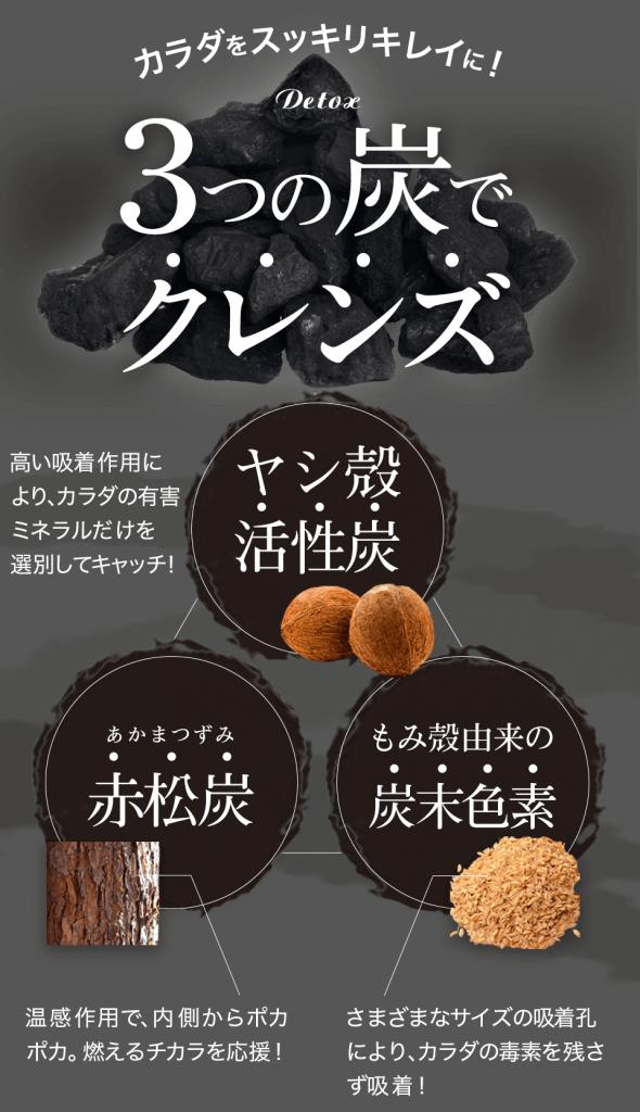 黒汁(KUROJIRU)の3つの炭