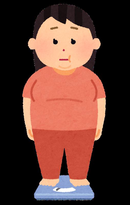 体重計でしょんぼりする女性