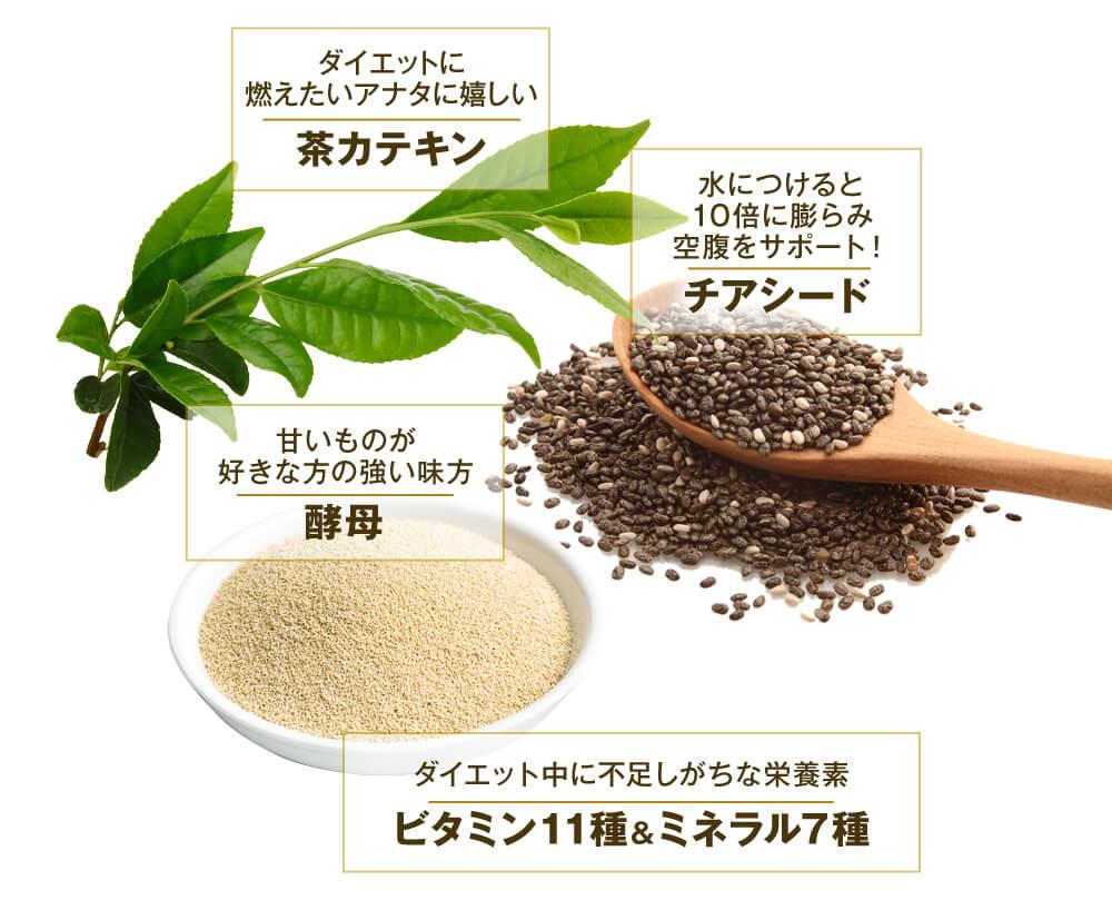雑穀麹の生酵素に含まれる茶カテキン、チアシード、酵母の原材料